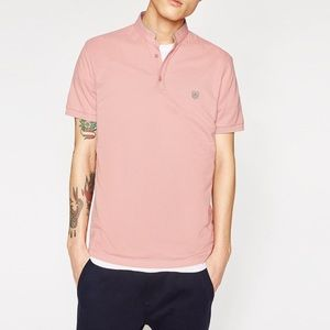 The Kooples Pink Collarless Polo Large